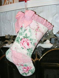 christma stock, shabby chic christmas, shabbi christma, christmas stockings, victorian christma, quilt christma