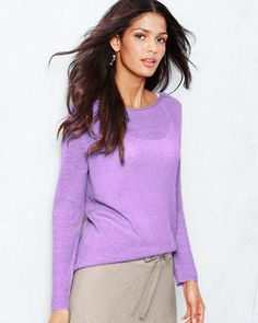 Eileen Fisher Hyacinth Purple Ribbed Boxy Sweater