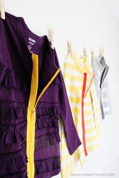 exposed zipper shirt into cardigan tutorial