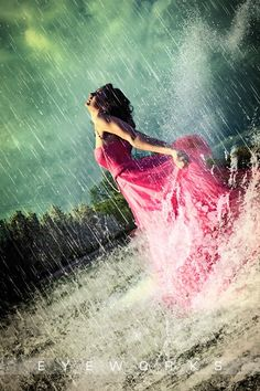 Rain and woman in pink