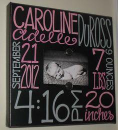 Baby Girl Birth Information Canvas Frame 14x14 via Etsy