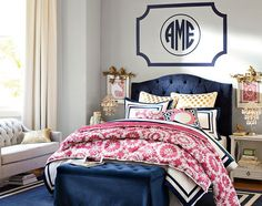 LOVE the navy and pink together!  Teenage Girl Bedroom Ideas | Classic | PBteen
