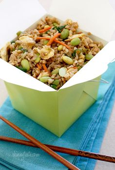 Asian Edamame Fried Rice - For this healthy version of fried rice I used brown rice, edamame, carrots, scallions and onions. The beauty about making it yourself is you can add anything you want. If you want to make this a main dish you can add a protein such as chicken, shrimp or even tofu to keep it vegetarian. 5points+ #vegetarian #rice #edamame