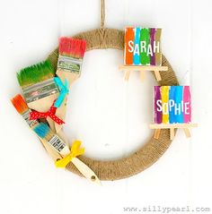 Art Birthday Party Wreath -- The Silly Pearl