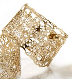 24 karat gold plated bracelet, Lace Bracelet, bridal jewelry,wide cuff by Inbar Shahak