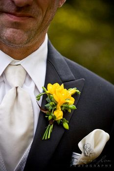 Wedding, Flowers, Yellow, Boutonniere