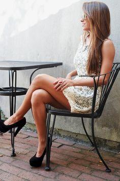 Ivory Lace Dress, Black belt, Black heels