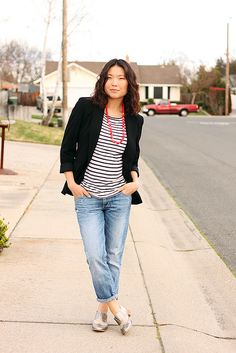 Stripes and black jacket
