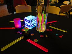 """Fun """"Decades"""" themed decor featuring our black tablecloths from one of our awesome customers!"""