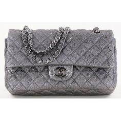 Chanel Metallic Silver Quilted Lambskin Leather Medium Double Strap Flap Bag