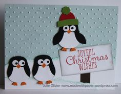 SU Joyful Christmas - sentiment, Owl Builder punch to make the penguin - cut off the ears and the owl becomes a penguin   (Nov 26, 2013)