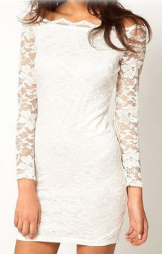 Super Sexy and Feminine  Off-shoulder Long Sleeves Gorgeous White Lace Dress #Sexy #White_Lace #Summer #Fashion