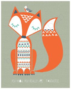 Fantastic Mr Fox Illustration 8x10 Print by helenrobin on Etsy