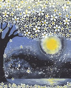 lovely moon and tree art