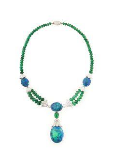 Oscar Heyman Platinum Lightning Ridge opal, emerald bead & diamond necklace