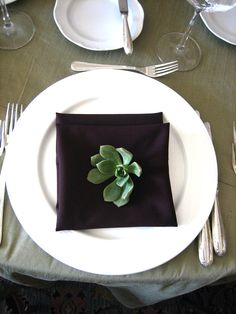 Succuluent place setting | Succulent Wedding Flowers For All Seasons | Green Bride Guidee