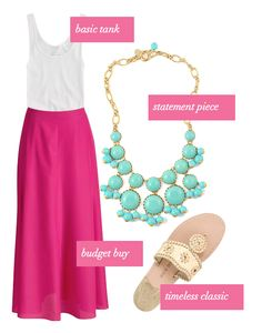 hot pink maxi skirt, turquoise bauble and jack rogers