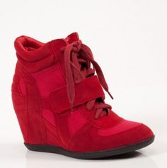Red Around The Town Wedge Booties - Cool kinda like a tennis Shoe & heels in one! #shoes #wedge #tennis #women #ladies #red #fashion #heels