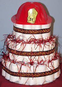 Fireman hat on top of a diaper cake...done.