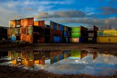 Containers in Antwerp by Ben Huybrechts