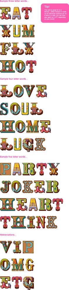 Contemporary needlepoint alphabet by Felicity Hall, UK