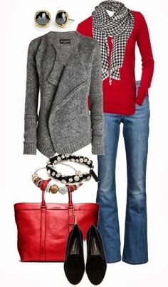 game day outfits, colors, christmas, red shirt outfit, fall outfits, gray sweater, scarf fashion, fashion jot, latest fashion outfits