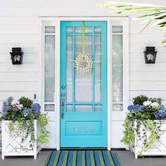 color door, beach door wreath, colored doors, inspir idea, bright colored front doors, colorful front doors, bright color front door, front door colors, house door colors