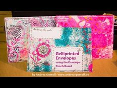 Andrea Gomoll Gelliprinted Mail-Art Envelopes - Video-Tutorial: One of the most fun-parts of Snailmail & Penpalling is definitely sending & receiving beautifully decorated, colorful envelopes ... you open your Mailbox and in between all those plain white Letters with Billds & boring stuff you spot this ONE Letter which just makes you…