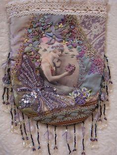 crazy quilt pouch in lavender