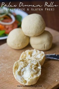Paleo Dinner Rolls {Tastes of Lizzy T} Grain free, gluten free, sugar free, dairy free!  But still so good :) http://www.tastesoflizzyt.com/2014/01/27/paleo-dinner-rolls/
