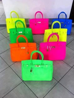 purs, hermes birkin, color, designer handbags, neon, bridesmaid gifts, summer bags, rainbow, designer bags