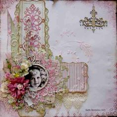 Portrait in Pink ~ Lovely heritage page with a simple layout design and 'white space' that beautifully contrasts with a lavishly embellished frame and border.