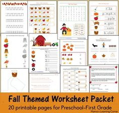 20-page Fall Fun Pages Worksheet Packet for Preschool-First Grade - includes scissor skills, beginning sounds, simple math, and more