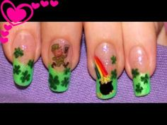 Nail Design - St. Patrick's Day. Migi nail art pen. Home made decals.