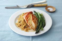 Chicken Piccata -    Sautéed chicken breasts, quinoa cooked with lemon and wine and perfectly steamed asparagus, cooked in 30 minutes using only one pot! Layered cooking makes it easy to serve a homemade meal in minutes.