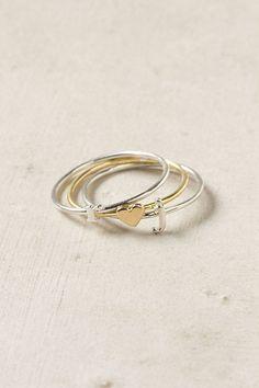 anthropologi wee, initials, anthropologie, heart ring, stacking rings