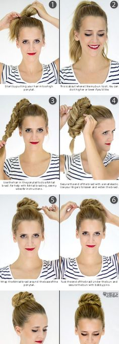 Fishtail Bun- Could work pretty well for marching band under our hats. After the show, I won't have a big mess. Instead, I'll have a pretty bun :)