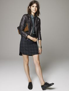 Madewell Perfect Lether Motorcycle jacket worn with Shirttail skirt + The Keaton Oxford.
