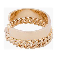 MAISON MARTIN MARGIELA Gold Tone Double Bracelet ($445) ❤ liked on Polyvore