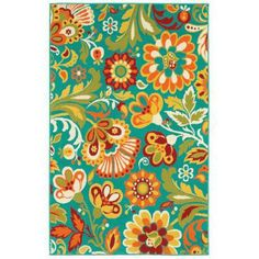 Shaw Living Floral Turquoise 7 ft 10 in. x 10 ft. 6 in. Indoor/Outdoor Area Rug, The Home Depot. hmm. This is $160 with free shipping.