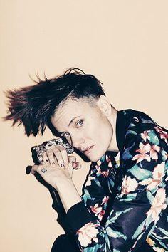 Casey Legler - female male model ...: Casey Legler in a Floral Bomber jacket