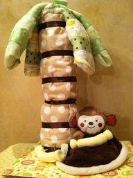 Monkey Diaper Cake Jungle Baby Shower by TeensyTinyBabyGifts, $47.00