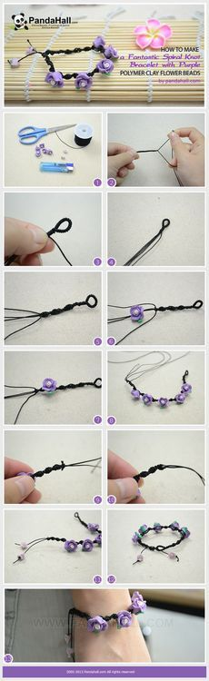 Jewelry Making Tutorial-How to Make a Fantastic Spiral Knot Bracelet with Polymer Clay Flower