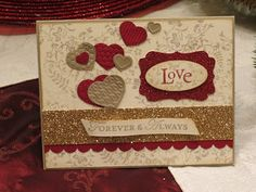 SU! Heart Embosslits; Red and Champagne Glimmer paper; Crumb Cake, Sahara Sand, Cherry Cobbler ink - Heather North