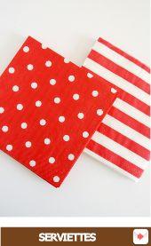 serviettes à pois ou rayures rouge #napkins #serviettes #pois #polkadots #red #rouge