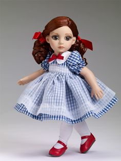 """Little Country Girl Patsy® #tonner #fashion #dolls - $139.99 - Buy Now.  Dressed doll New Patsy® head sculpt 10"""" bend knee child body Bisque skin tone Hazel inset eyes with applied eyelashes Chestnut non-removable saran wigged hair with red hair bows Blue and white check dress with a red ribbon bow at the collar and white organza overskirt white petticoat with cotton lace trim White stretch knit tights Red faux leather shoes LE 500"""
