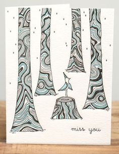 Miss You | Red Cap Cards | Illustrated greeting card by Carrie Gifford #letterpress