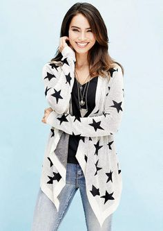 Star Open Cardigan Sweater #MyAlloy #Sweaters #Stars