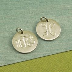 Monogrammed necklace charms - use kids initials