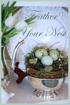 FEATHER YOUR NEST... Creative Ways To Decorate With Nests stonegableblog.com